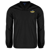 V Neck Black Raglan Windshirt-Goucher College Stacked