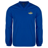V Neck Royal Raglan Windshirt-Goucher Gophers Stacked