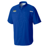 Columbia Tamiami Performance Royal Short Sleeve Shirt-Goucher College Stacked