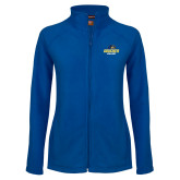 Ladies Fleece Full Zip Royal Jacket-Goucher College Stacked