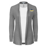 Ladies Heather Grey Open Front Cardigan-Goucher College Stacked
