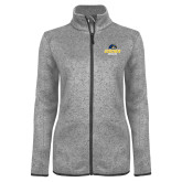 Grey Heather Ladies Fleece Jacket-Goucher Gophers Stacked