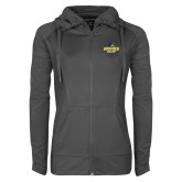 Ladies Sport Wick Stretch Full Zip Charcoal Jacket-Goucher College Stacked