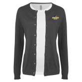 Ladies Charcoal Cardigan-Goucher College Stacked