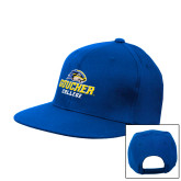 Royal Flat Bill Snapback Hat-Goucher College Stacked