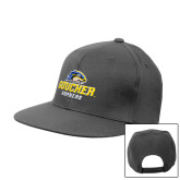 Charcoal Flat Bill Snapback Hat-Goucher Gophers Stacked