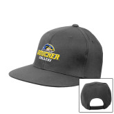 Charcoal Flat Bill Snapback Hat-Goucher College Stacked