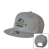 Heather Grey Wool Blend Flat Bill Snapback Hat-Goucher Gophers Stacked