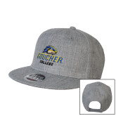Heather Grey Wool Blend Flat Bill Snapback Hat-Goucher College Stacked