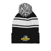 Black/White Two Tone Knit Pom Beanie w/Cuff-Goucher Gophers Stacked