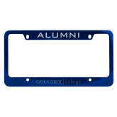Alumni Metal Blue License Plate Frame-College Wordmark Engraved