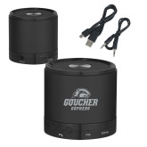Wireless HD Bluetooth Black Round Speaker-Goucher Gophers Stacked Engraved