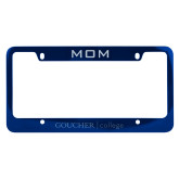 Mom Metal Blue License Plate Frame-College Wordmark Engraved