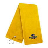 Gold Golf Towel-Goucher Gophers Stacked
