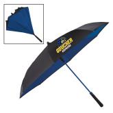 48 Inch Auto Open Black/Royal Inversion Umbrella-Goucher Gophers Stacked