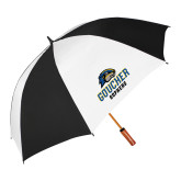 62 Inch Black/White Vented Umbrella-Goucher Gophers Stacked