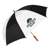 62 Inch Black/White Vented Umbrella-Goucher College Stacked