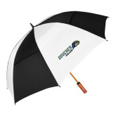 62 Inch Black/White Vented Umbrella-Goucher College Horizontal