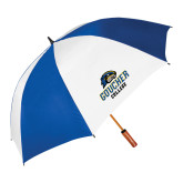 62 Inch Royal/White Vented Umbrella-Goucher College Stacked