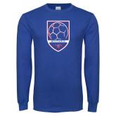 Royal Long Sleeve T Shirt-Soccer Design 2