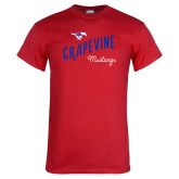 Red T Shirt-Curved Grapevine Design
