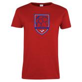 Ladies Red T Shirt-Soccer Design 2