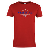 Ladies Red T Shirt-Volleyball Design 1