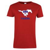 Ladies Red T Shirt-Fishing