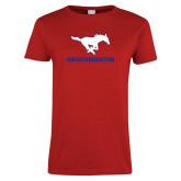 Ladies Red T Shirt-MUSTANGNATION