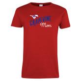 Ladies Red T Shirt-Mom Design