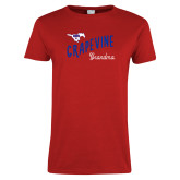 Ladies Red T Shirt-Grandma Design