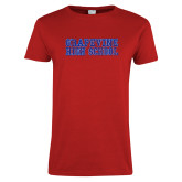 Ladies Red T Shirt-Grapevine High School Distressed