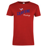Ladies Red T Shirt-Curved Grapevine Design