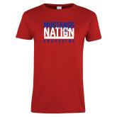 Ladies Red T Shirt-Mustangs Nation