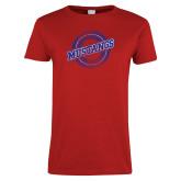 Ladies Red T Shirt-Distressed Wordmark