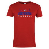 Ladies Red T Shirt-Football Field Design