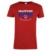 Ladies Red T Shirt-Football Design 3
