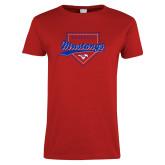 Ladies Red T Shirt-Baseball Design 2