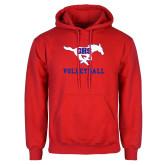 Red Fleece Hoodie-Volleyball