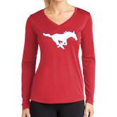 Ladies Syntrel Performance Red Longsleeve Shirt-Secondary Mark