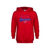 Youth Red Fleece Hoodie-Baseball Design 2