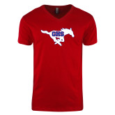Next Level V Neck Red T Shirt-Primary Mark