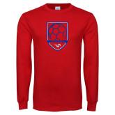 Red Long Sleeve T Shirt-Soccer Design 2