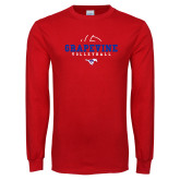 Red Long Sleeve T Shirt-Volleyball Design 1