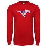 Red Long Sleeve T Shirt-Distressed Primary Mark