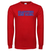 Red Long Sleeve T Shirt-Grapevine High School Distressed
