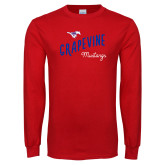 Red Long Sleeve T Shirt-Curved Grapevine Design