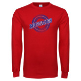 Red Long Sleeve T Shirt-Distressed Wordmark
