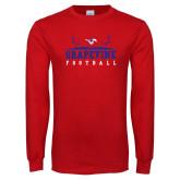 Red Long Sleeve T Shirt-Football Field Design