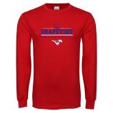 Red Long Sleeve T Shirt-Basketball Design 1